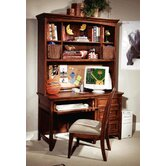 American Spirit Computer Desk Hutch in Distressed Medium Brown Cherry