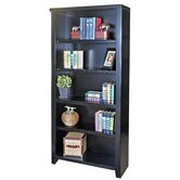 Tribeca Loft Black Office Collection 70&quot; Bookcase in Distressed Painted Black