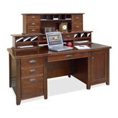 Tribeca Loft Cherry Executive Computer Desk with Hutch