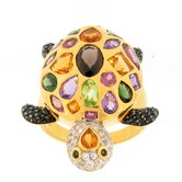 Vermeil Sterling Silver Multi Stone Turtle Ring