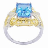 18K Gold and Silver Emerald Cut Topaz and Cubic Zirconia Ring
