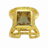 Gold over Silver Oval Cut Genuine Gemstone Ring