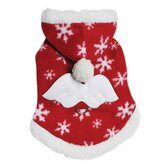 Adorable Fleece Snowflake Dog Hoodie with Angel Wing