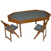"72"" Deluxe Oak Folding Game Table Set"