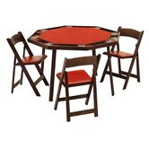 "52"" Oak Folding Poker Table Set"