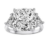 Sterling Silver Cubic Zirconia Cushion Cut Ring
