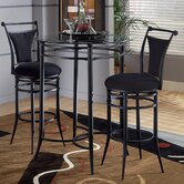Cierra Bistro Set- 30&quot; Bar Stools in Pewter with Black Fabric