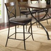 Cameron X-Back Non-Swivel Counter Stool in Distressed Chestnut Brown (Set of 2)