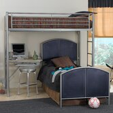 Universal Youth Twin over Twin L-Shaped Bunk Bed with Built-In Ladder and Desk