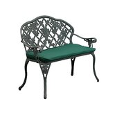 Grape Cast Iron/Aluminum Garden Bench with Cushion