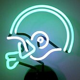 Football Helmet Neon Sculpture in Green and White
