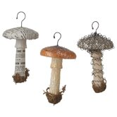 Mushroom Paper Pulp Ornament 3 Piece Set