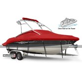 Deck Boat Cover with Walk-Thru Windshield or Side Console