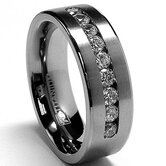 Men's Titanium Cubic Zirconia Comfort Fit Wedding Band