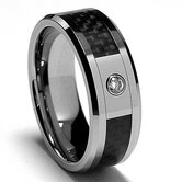Men's Tungsten Carbide Real Diamond Comfort Fit Wedding Band