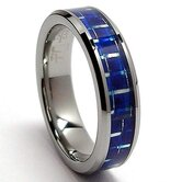 Flat Top Tungsten Carbide Carbon Fiber Comfort Fit Wedding Band