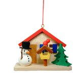 Snowman by House Ornament