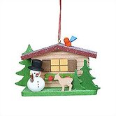 Cottage with Snowman and Deer Ornament