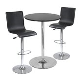 "28"" Round Pub Table with L-Shape Airlift Bar Stools Set"
