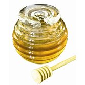 Mouth Blown Glass Honey Pot with Lid and Dipper