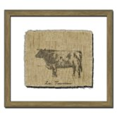 Cow on Linen II Framed Graphic Art