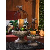 Evergreen Flag & Garden Candle Holders