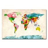 'Watercolor World Map' by Michael Tompsett Graphic Art on Canvas