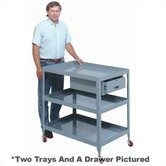 "Mobile Tool Stand - 3 Trays and Drawer: 37 1/4"" H x 28"" W x 36"" W"