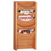"Display Rack, 5 Pockets, 11""x3-3/4""x24"", Medium Oak/Mahogany"