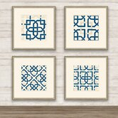 Felt Interlocking Blue I Wall Art Collection