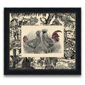 Toile Roosters Framed Graphic Art