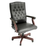 Ivy League High-Back Traditional Vinyl Swivel Executive Chair