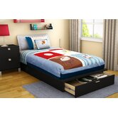 Twin 39&quot; Platform Bed with Drawer in Pure Black