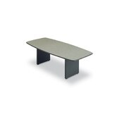 96&quot; Wide T-Mold Boat Shape Top Conference Table with Slab Base