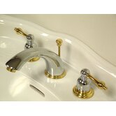Victorian Double Handle Widespread Bathroom Faucet with Brass Pop-Up Drain