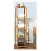 Five Tier Vertical Bamboo Shelf in Natural