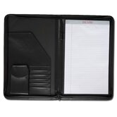 Leather Portfolios Top-Grain Deluxe Legal-Size Zip-Around Padfolio in Black