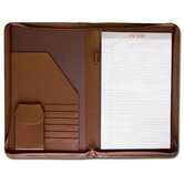 Leather Portfolios Top-Grain Deluxe Legal-Size Zip-Around Padfolio in Chocolate