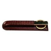 2000 Series Crocodile Embossed Leather Library Set in Brown