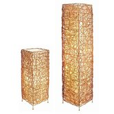 Wicker Lamp Set in Gold (Set of 2)