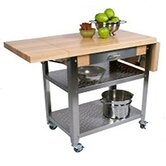 Cucina Americana Elegante Kitchen Cart with Wood Top
