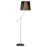 Tuxedo Swing Arm Floor Lamp in Satin Nickel