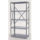 Industrial Clip Open Shelving: Angle Post Units with 5 Shelf Frames - Starter Unit