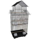 Tall Pagoda Top Small Bird Cage in Black