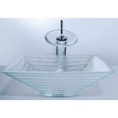 Clear Glass Alexandrite Sink and Waterfall Faucet