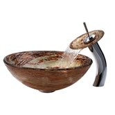 Copper Ares Glass Vessel Sink and Waterfall Faucet