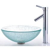 Broken Glass Vessel Sink and Sheven Faucet