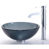 "Frosted Black 14"" Glass Vessel Sink and Ramus Faucet"