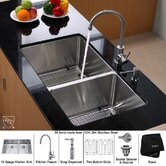 "Undermount  33"" Double Bowl 70/30 Kitchen Sink with Kitchen Faucet"