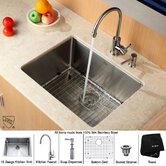 "Undermount 32"" Kitchen Sink with Faucet and Soap Dispenser"